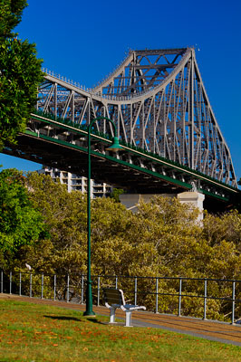 Thumbnail image of Park bench under the Story Bridge on the bank...