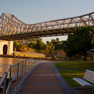 Old wharves on the northern side of the Brisbane River under the Story Bridge.
