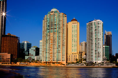 Thumbnail image ofEarly morning light on apartment buildings and...