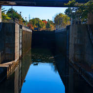 Approaching the open gates of Lock 42 on the Trent-Severn Waterway, heading up.