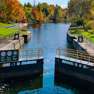 Top gates of Lock 42 opening to the Trent-Severn Waterway.