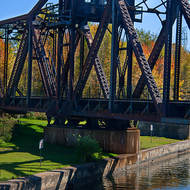 Canadian National swing bridge locked for rail traffic, on the Trent-Severn Waterway.