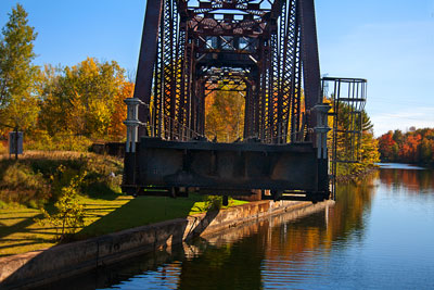 Thumbnail image ofCanadian National swing bridge fully open for...