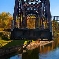 Canadian National swing bridge fully open for canal passage, on the Trent-Severn Waterway.