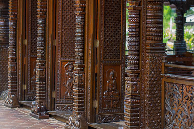 Thumbnail image of Hand carved panels of the Nepal Peace Pagoda.