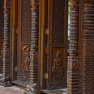 Hand carved panels of the Nepal Peace Pagoda.