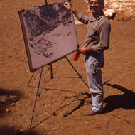 Artist at work: Goldfields artist Garry Zeck capturing a dry creek bed.