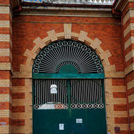 Front gates of the Old Boggo Road jail, initially H.M. Prison for Women, later for Men.
