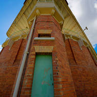 Looking up at the rear observation tower of the Old Boggo Road jail.
