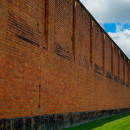 Side wall and rear observation tower of the Old Boggo Road jail.