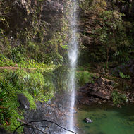 Part of the Twin Falls cascades over a walking track leaving the track dry under the overhang.