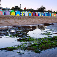 Icons: bathing boxes of Dendy Street Beach.