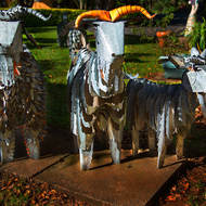 Sculptures: goat family for sale at the Secret Garden gallery.