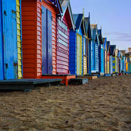 Line of bathing boxes in the morning.