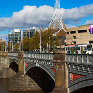 Looking south over Princes Bridge over the Yarra River to the National Gallery of Victoria.