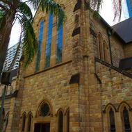 The side of the Cathedral of St Stephen in downtown Brisbane.