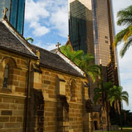 The rear of the Cathedral of St Stephen in downtown Brisbane.