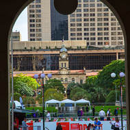 Looking from Brisbane Post Office across Post Office Square to the central railway station.