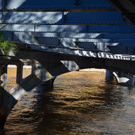 Under the arches; old railway bridge over the Yarra River.
