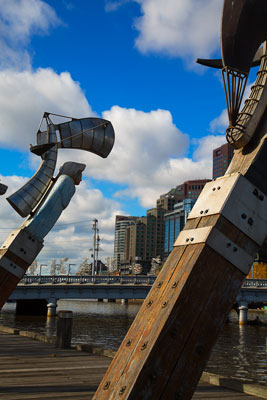 Thumbnail image of Sculptures on the north bank of the Yarra River.