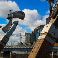 Sculptures on the north bank of the Yarra River.