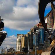 Sculptures on the north bank of the Yarra River overlook Southbank.