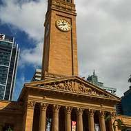 Brisbane city hall across King George square.