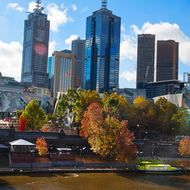 Federation wharf on the north bank of the Yarra River and downtown Melbourne.