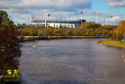 Thumbnail image ofMelbourne cricket ground upstream the Yarra River...