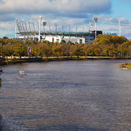 Melbourne cricket ground upstream the Yarra River from Princes Bridge.