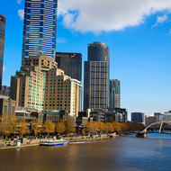 Southbank and the Yarra River leading downstream from Princes Bridge.