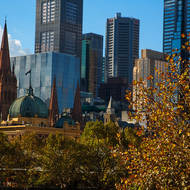 Flinders Street Railway Station and St Pauls cathedral from Southbank.