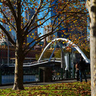 Fallen leaves and pedestrian bridge over the Yarra River from Southbank.