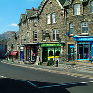 Part of the high street shopping precinct of Ambleside.