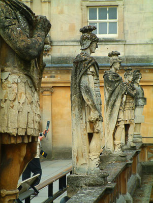 Thumbnail image ofStatues of the Roman soldiers guarding Roman baths.
