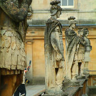 Statues of the Roman soldiers guarding Roman baths.
