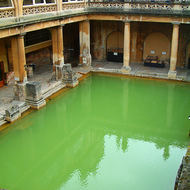 The heated water of the Roman baths in Bath.