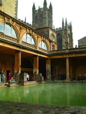 Thumbnail image ofSteam rises from the heated water of the Roman...