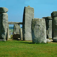 Panorama of the standing stones of Stonehenge.