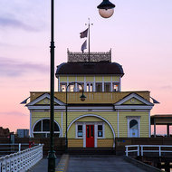 Kiosk and restaurant at the end of the St Kilda pier early in the morning.