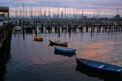 Thumbnail image ofSun rise over yachts moored at the Royal Melbourne...