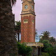 The Catani clock tower on the Esplanade at St Kilda beach.