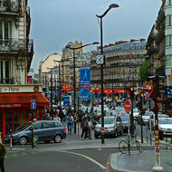 Heavy traffic near Gare du Nord.