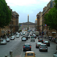 Along Rue Royale towards Place de la Concorde and the National Assembly.