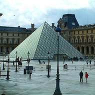 The Louvre museum with the glass pyramid.