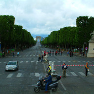 Avenue des Champs Elysees looking through to the Arc de Triomphe.