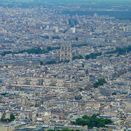 Ile-de-la-cite and Notre Dame cathedral from the Eiffel Tower.