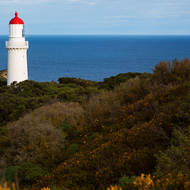 Cape Schanck lighthouse faces out south over Bass Strait.