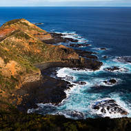 The rocky point of Cape Schanck and Bass Strait beyond from the top of the lighthouse.