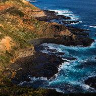 The rocky point of Cape Schanck and Bass Strait from the top of the lighthouse.